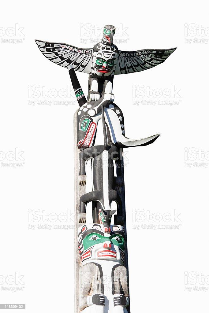 Totem Pole on White royalty-free stock photo