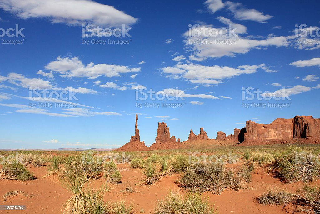 Totem pole rock in Monument Valley stock photo