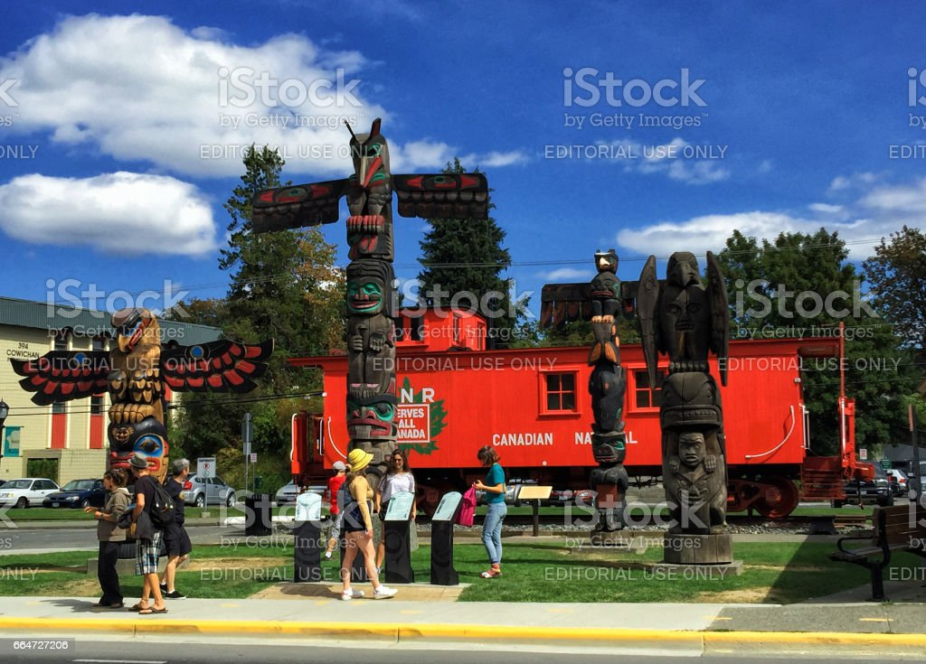 Totem poles, Duncan, BC,Canada stock photo