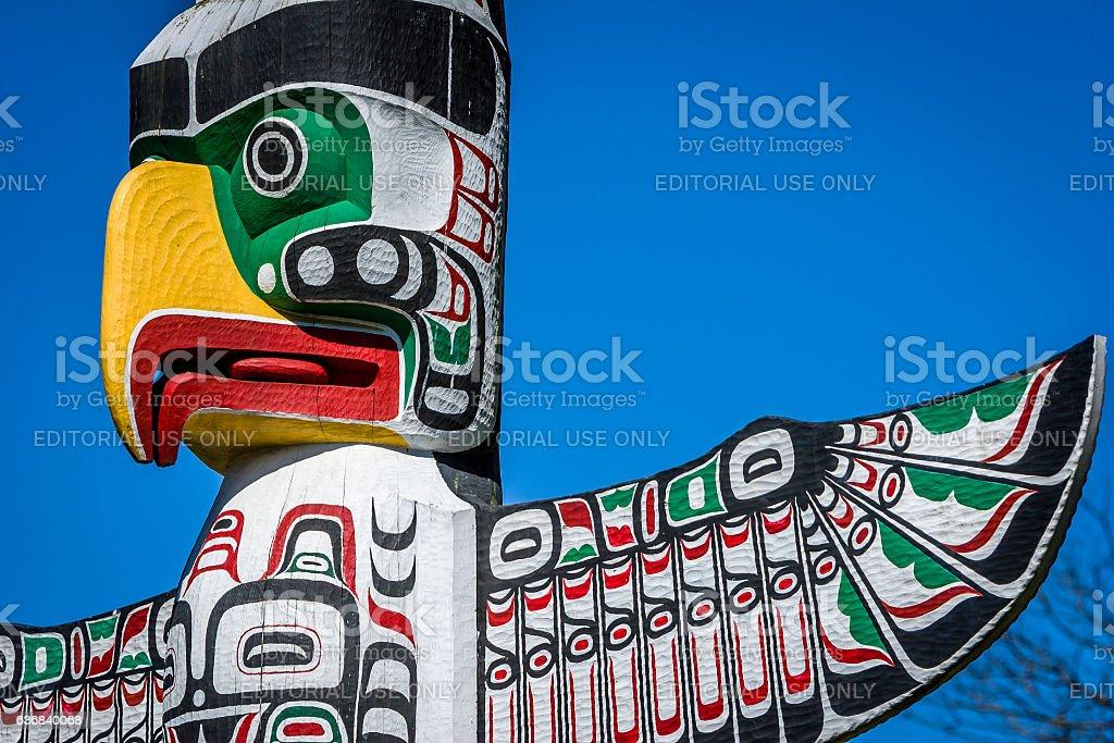 Totem poles in Stanley park, Vancouver. stock photo