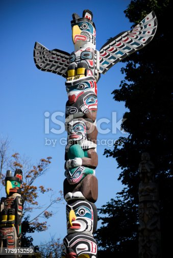 Native totem poles located in Vancouver, BC, Canada
