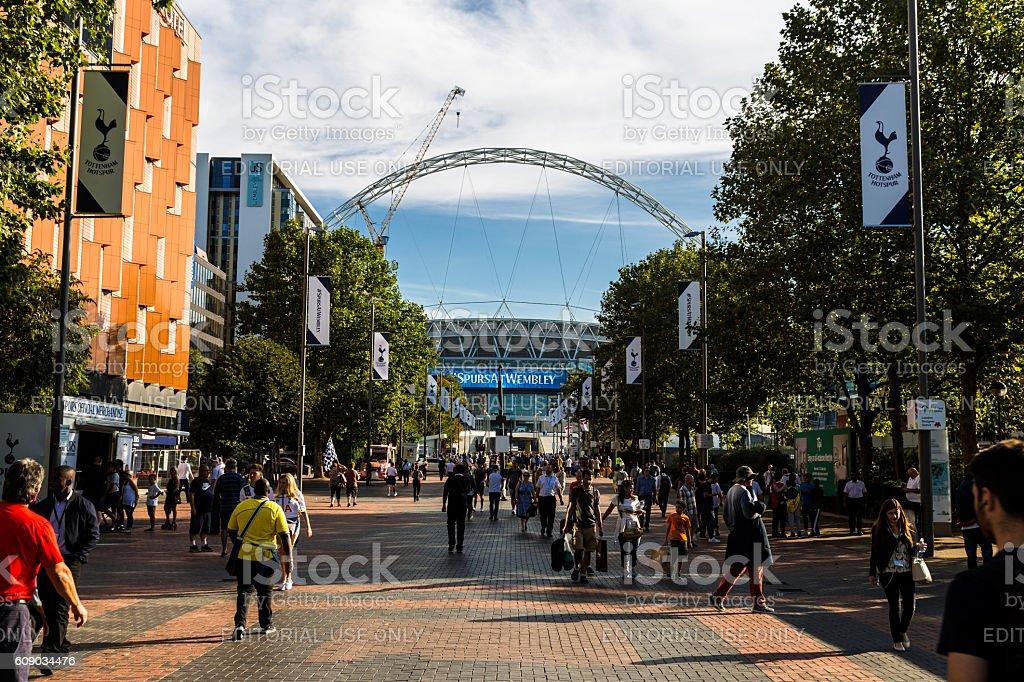 Tottenham Hotspur supporters outside Wembley Stadium, London, UK stock photo