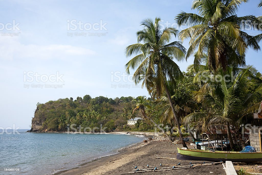 Toucari Bay and beach on Dominica stock photo