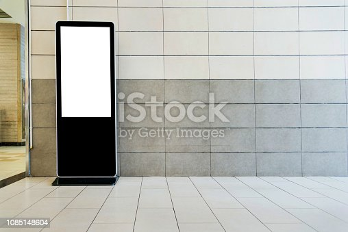 istock Touch display kiosk in public building 1085148604