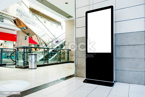 Touch display kiosk in shopping mall.