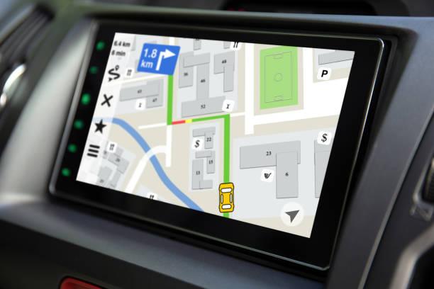 Touch-Multimedia-System mit Anwendungsnavigation auf dem Bildschirm – Foto