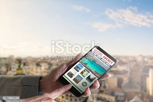 istock Touch phone , website of travel 507965236