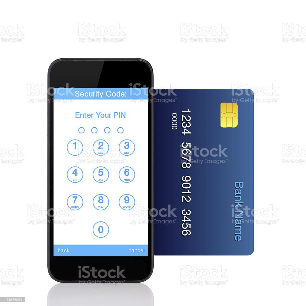 touch phone with buttons for the pin code on screen stock photo