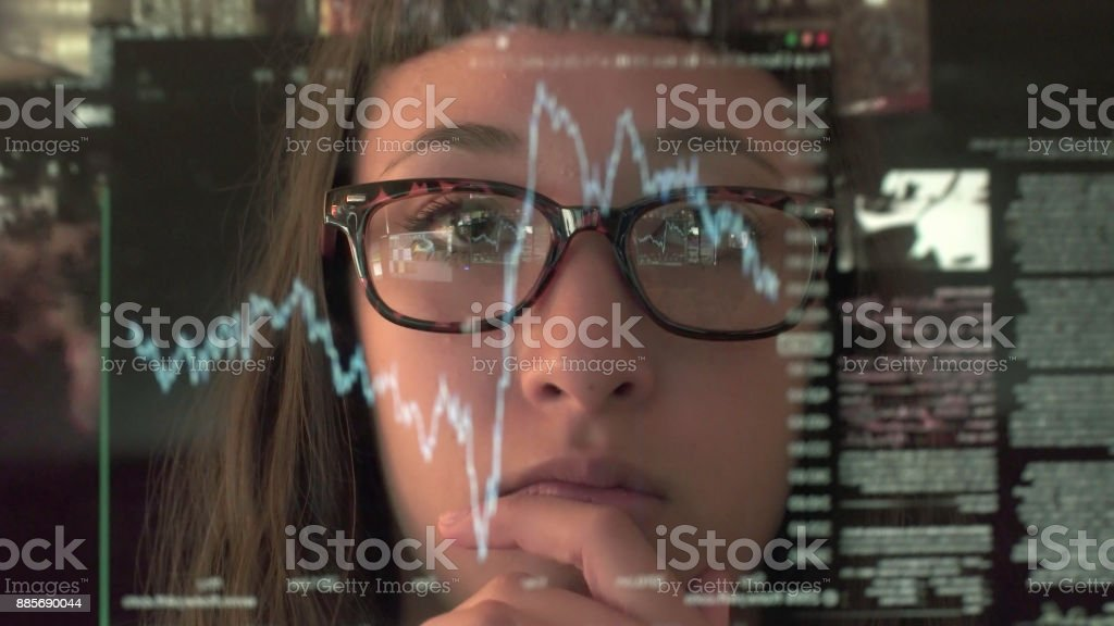 Touch screen analysing commerce stock photo