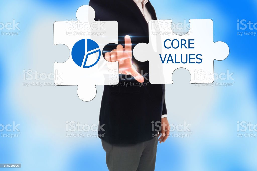 touch screen button, Core Values Collaboration Jigsaw Puzzle Concept stock photo