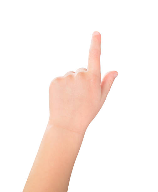Touch screen child gesture stock photo