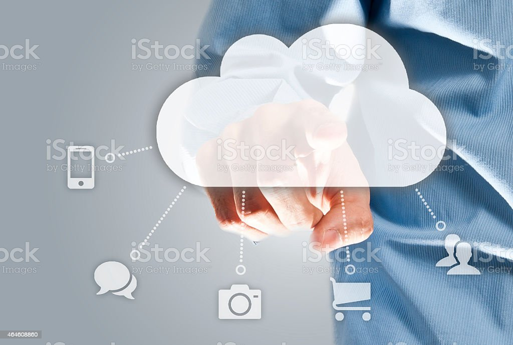 Touch screen Cloud computing (Click for more) stock photo