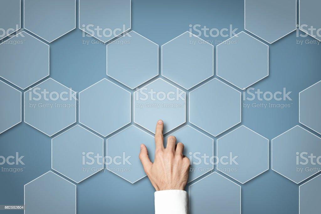 Touch screen - hexagonal button / Touch screen concept (Click for more) stock photo