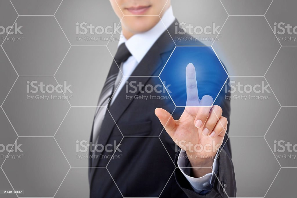 Touch screen honeycomb stock photo