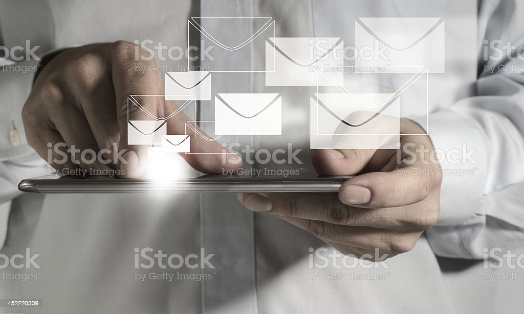 touch screen mobile phone and buttons e-mail stock photo