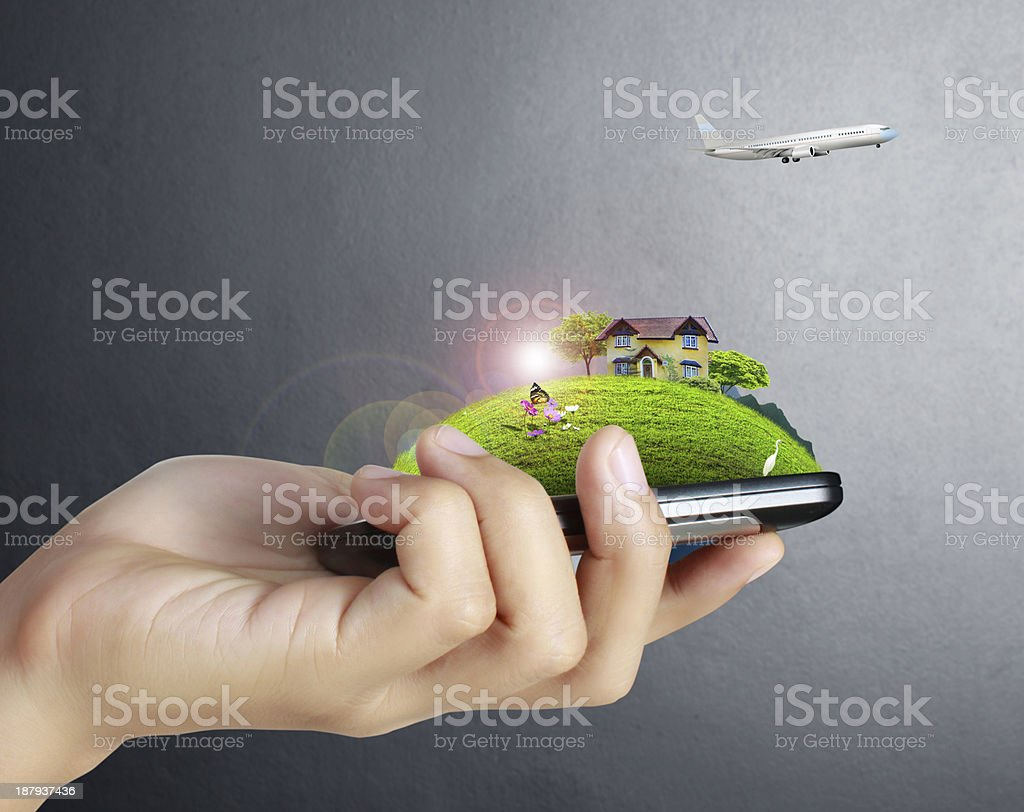 Touch screen mobile phone in hand royalty-free stock photo