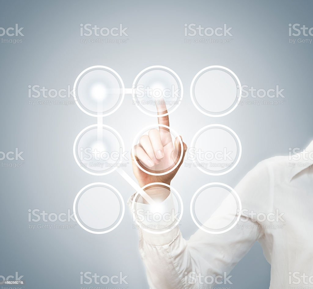 Touch screen password / touch screen concept (Click for more) stock photo