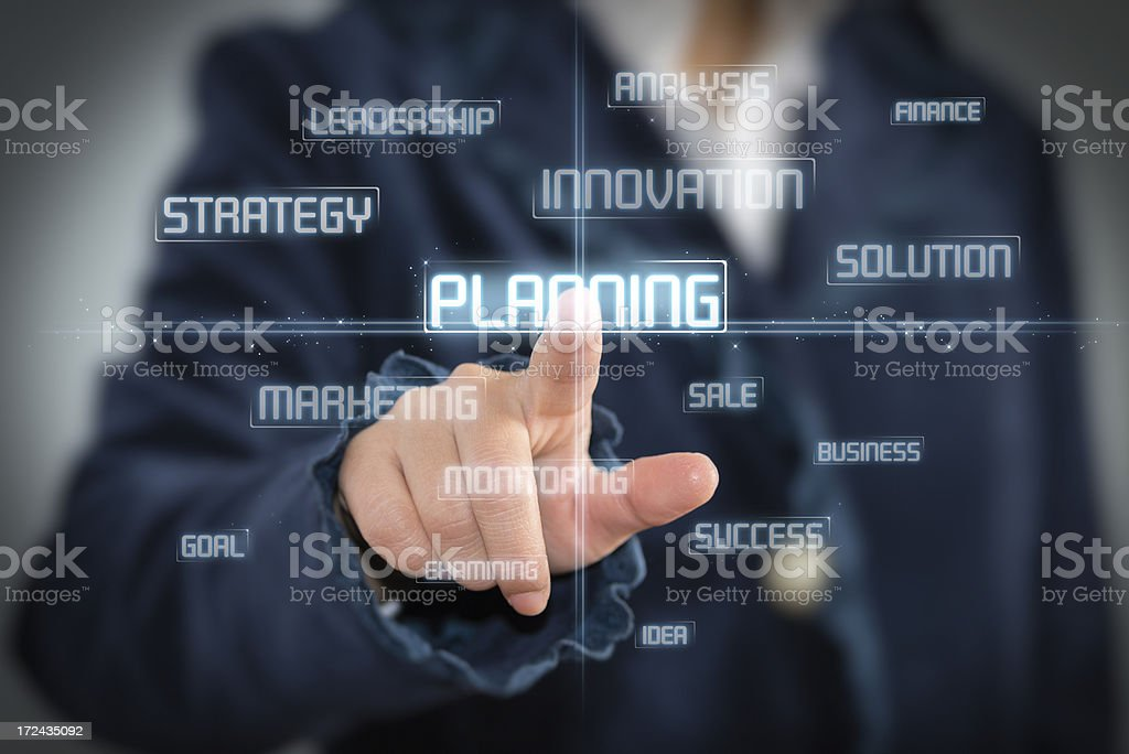 Touch Screen Planning concept stock photo
