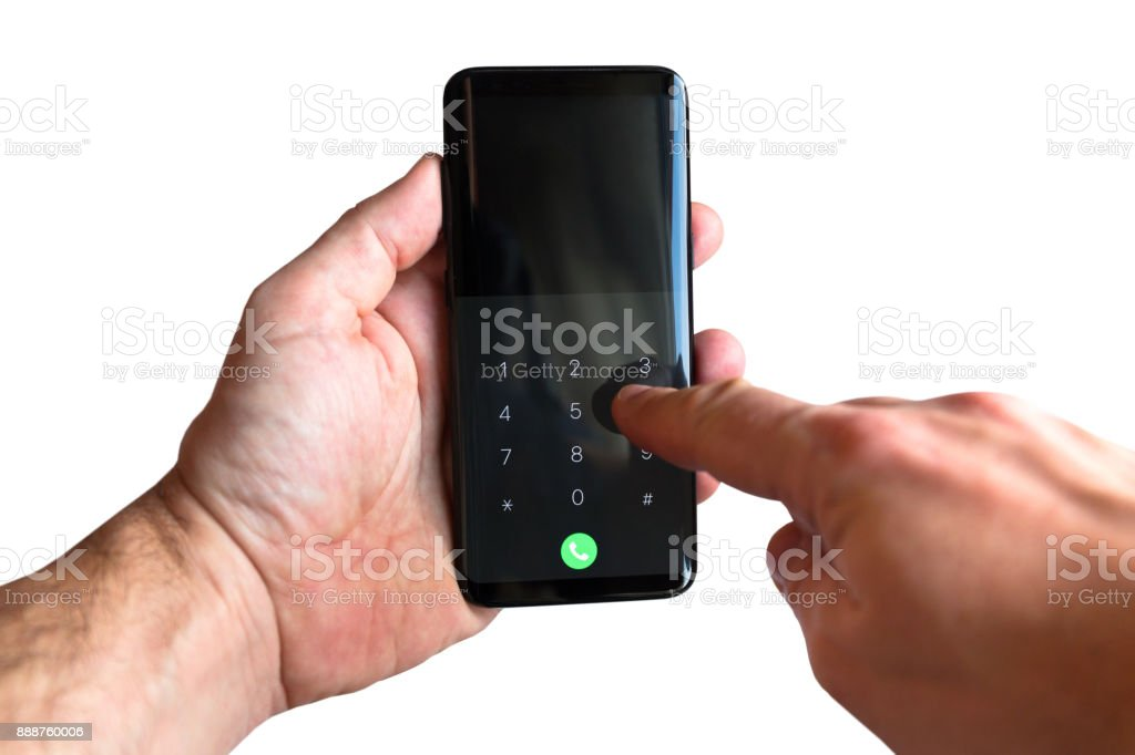 Touch screen smartphone in hands stock photo
