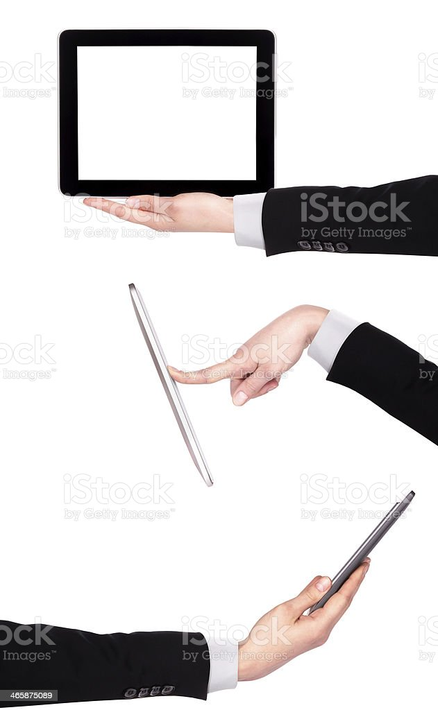 Touch screen tablet computer with hand royalty-free stock photo