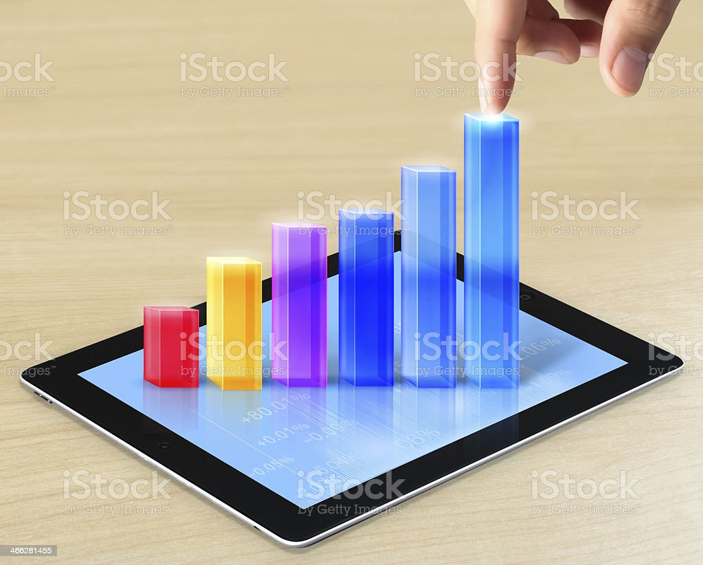 touch screen tablet with a graph royalty-free stock photo
