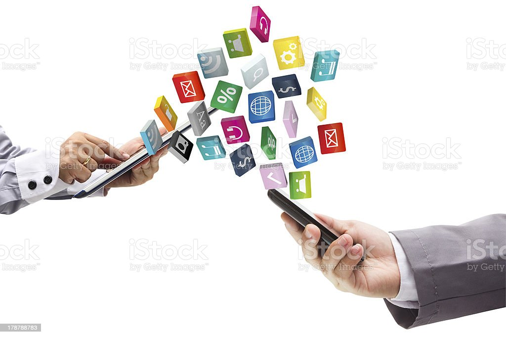 Touch screen tablet with mobile phone of cloud application icon stock photo