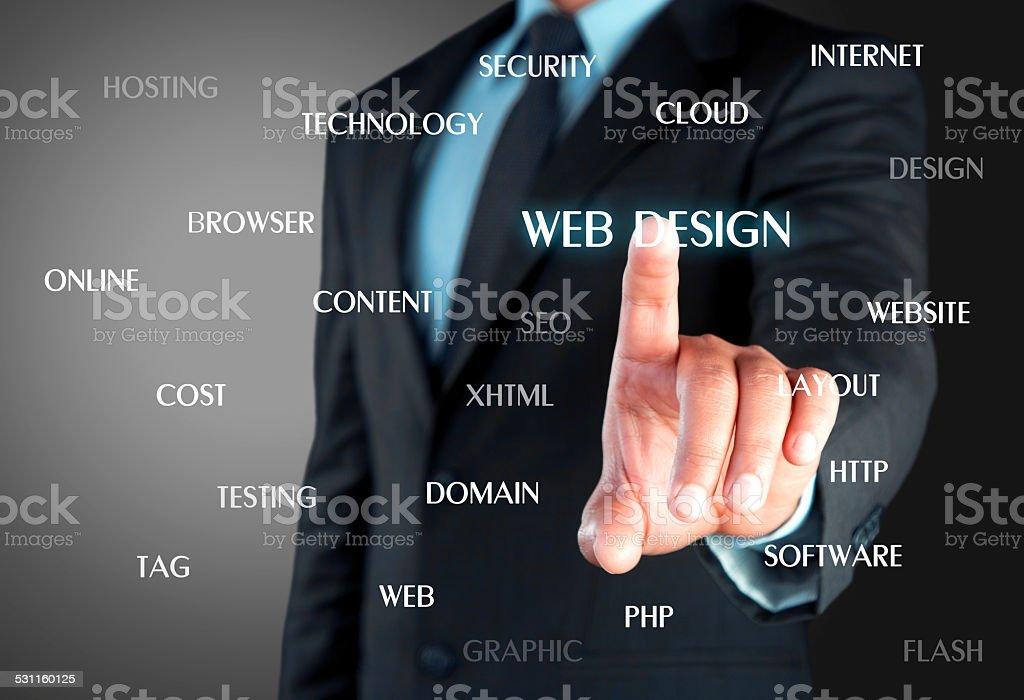 Touch screen web design concept stock photo