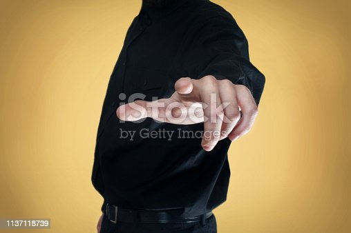 istock Touch screen / Yellow background concept (Click for more) 1137118739