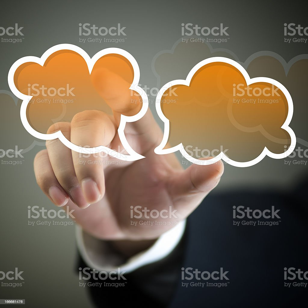 Touch Screen-Conversation Speech Bubbles royalty-free stock photo