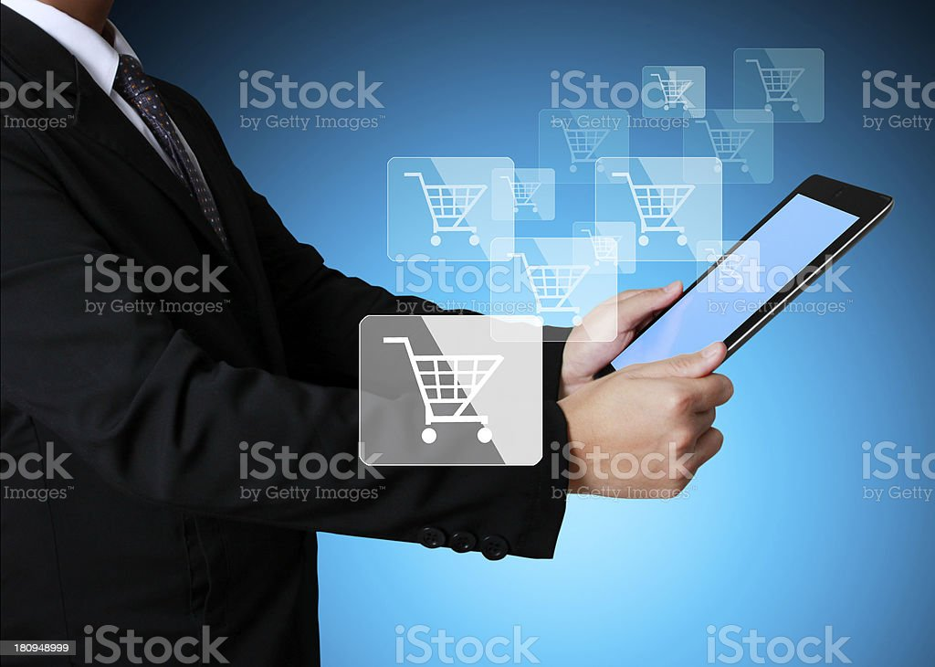 touch- tablet in hands businessmen royalty-free stock photo