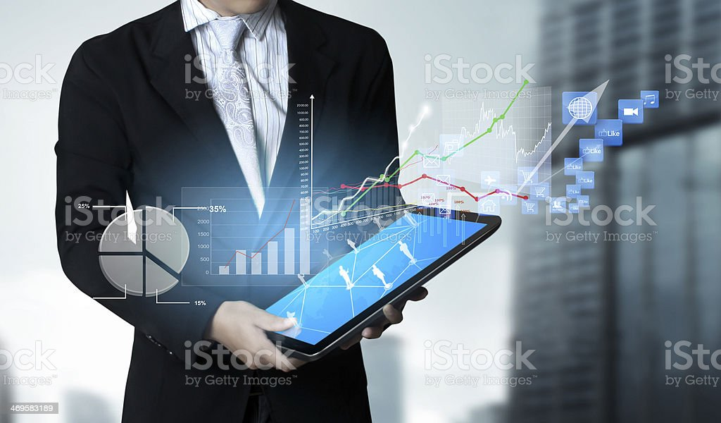 touch- tablet in hands stock photo
