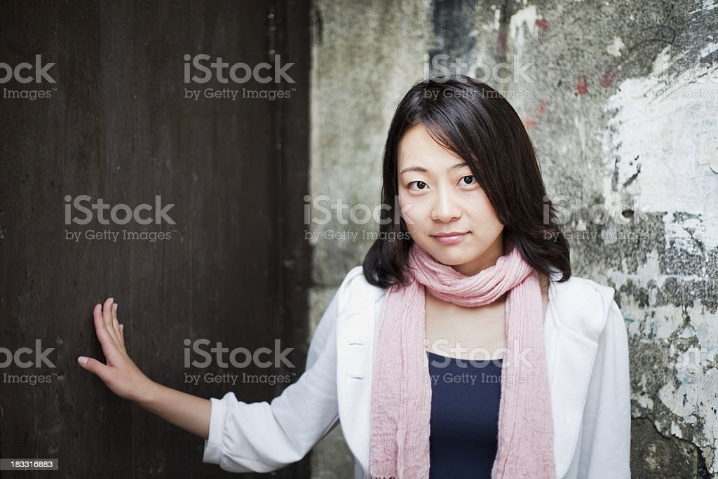 Touch the old door royalty-free stock photo