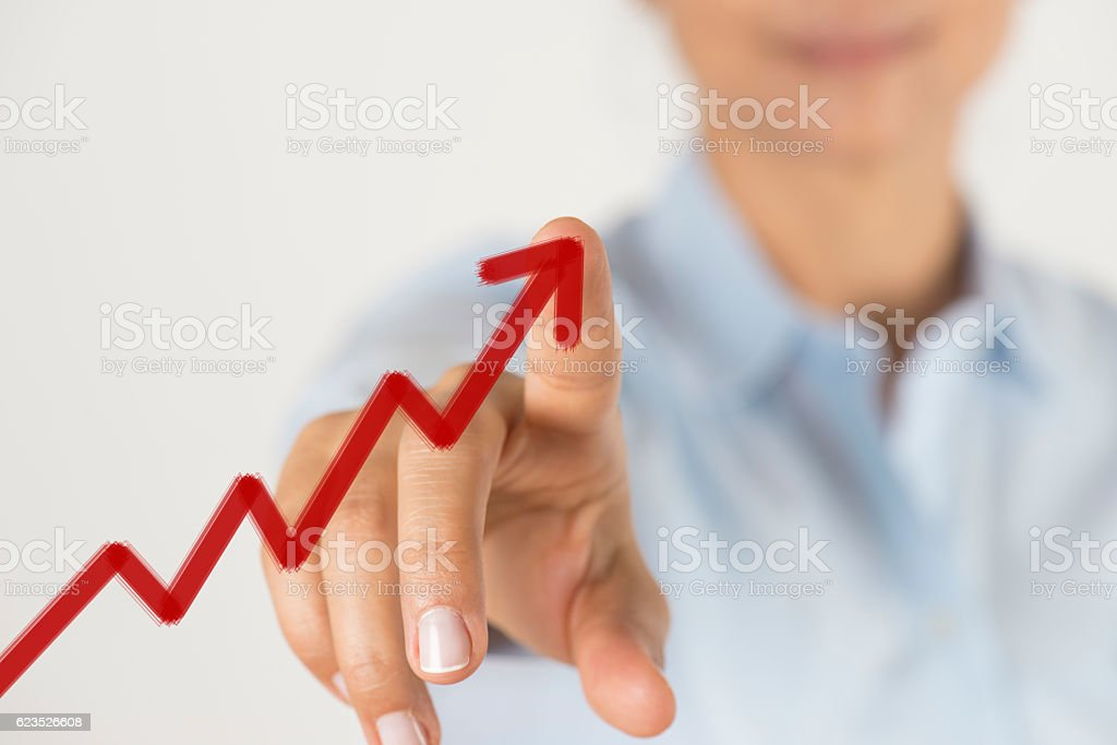 Touch The Success stock photo