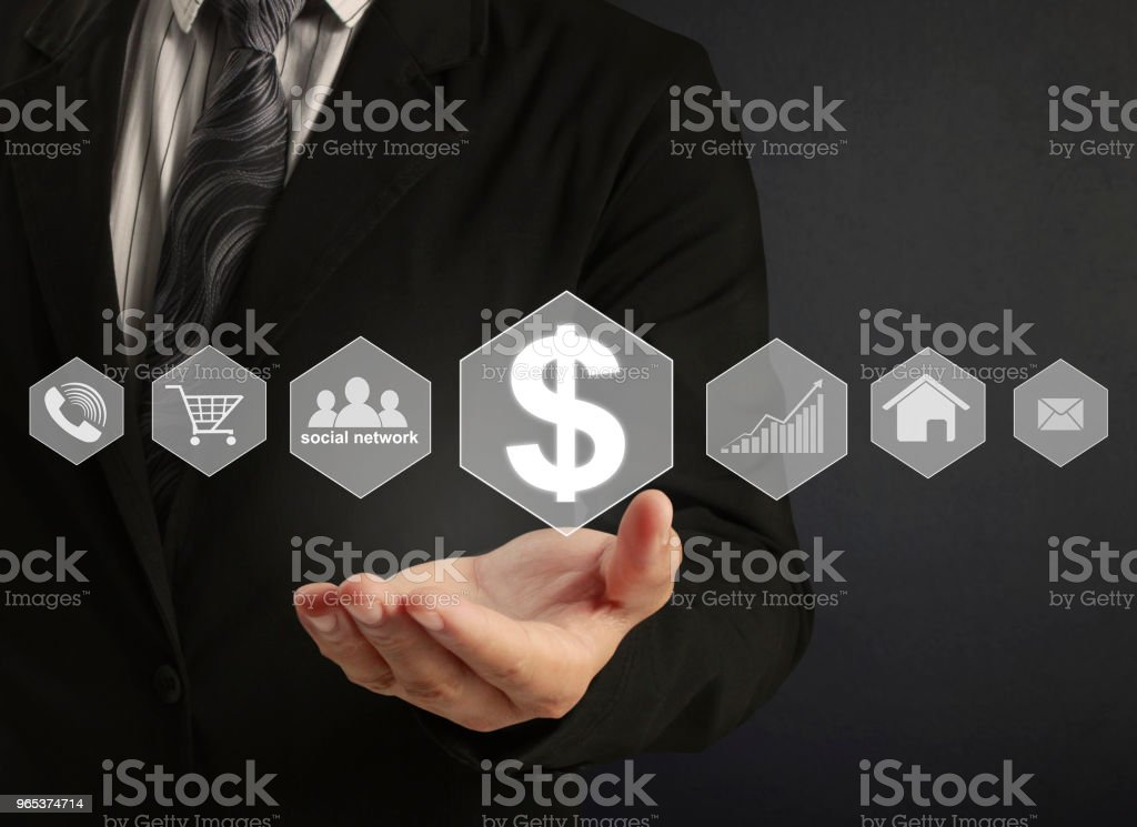 touch virtual icon of social network royalty-free stock photo