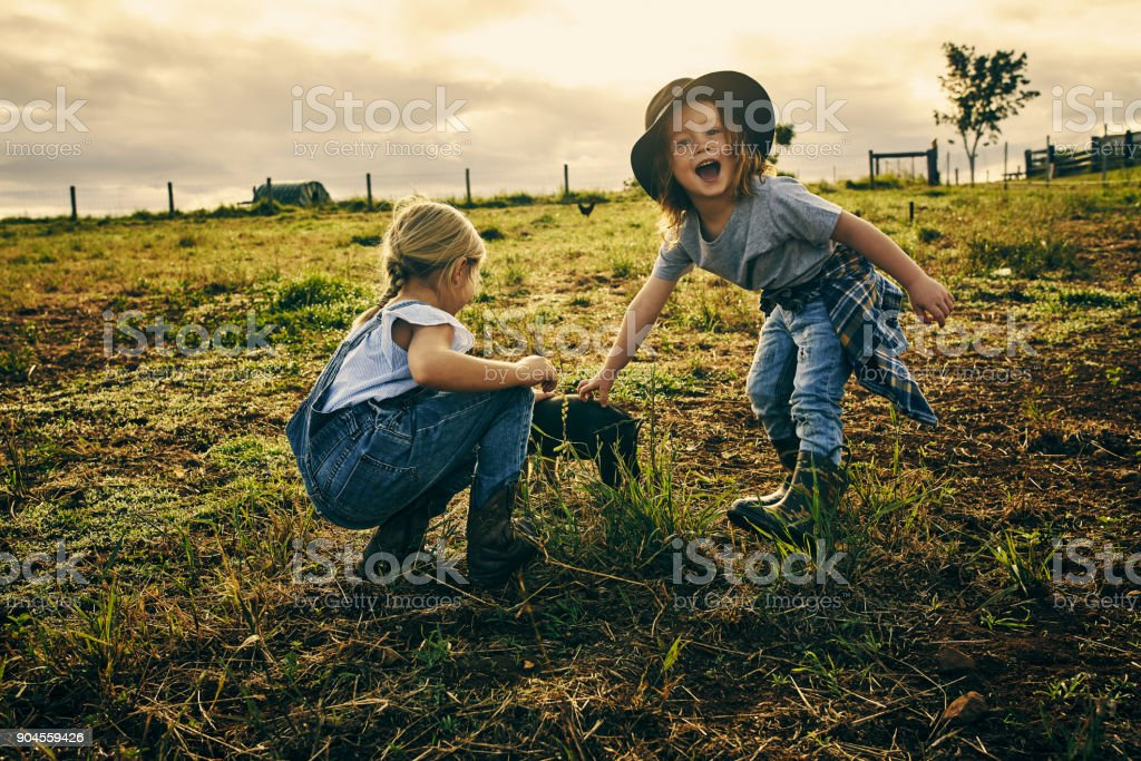 I touched him! stock photo