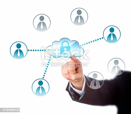 488497362istockphoto Touching A Locked Cloud Linked To Office Workers 473495916