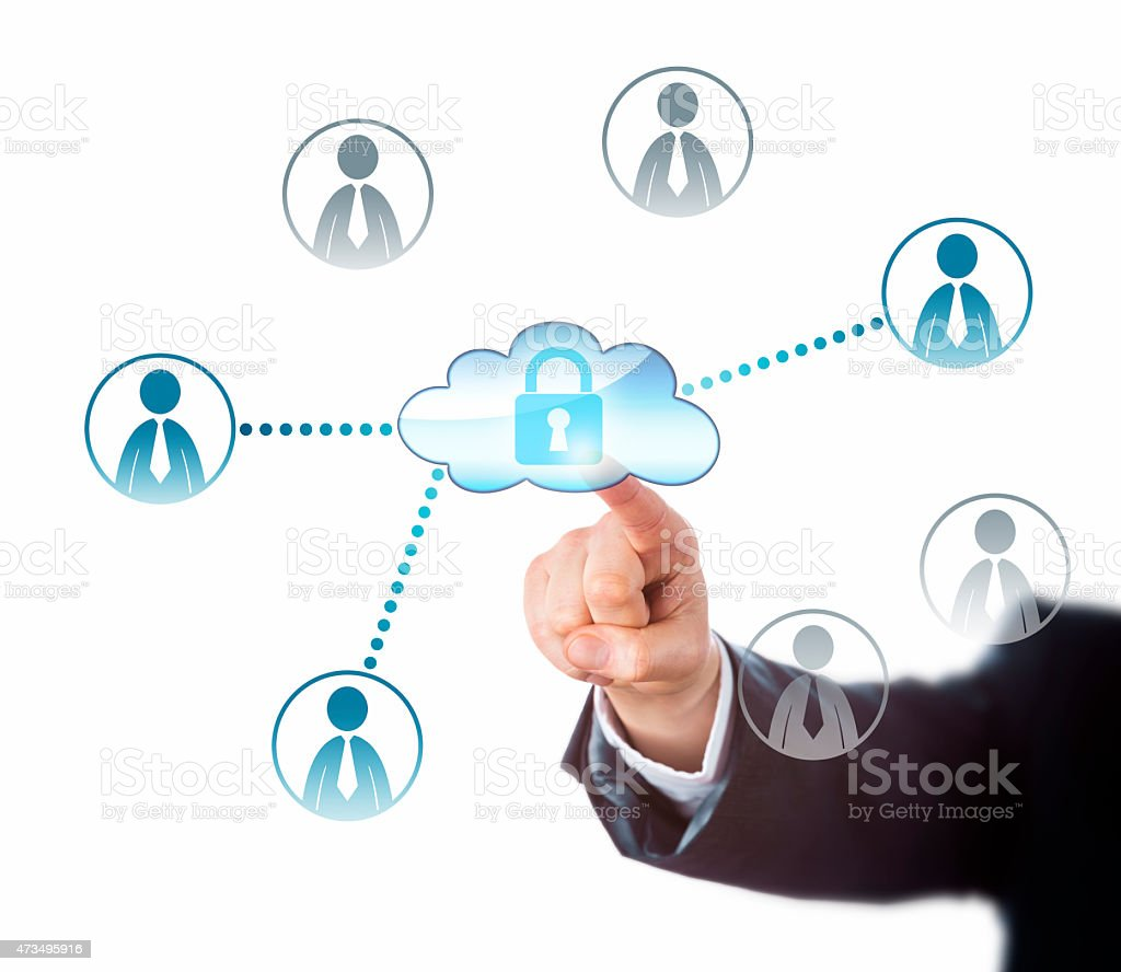 Touching A Locked Cloud Linked To Office Workers stock photo