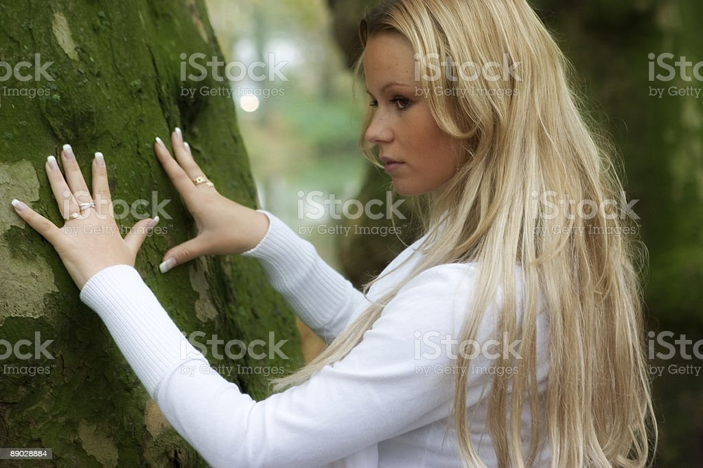 touching a tree royalty-free stock photo
