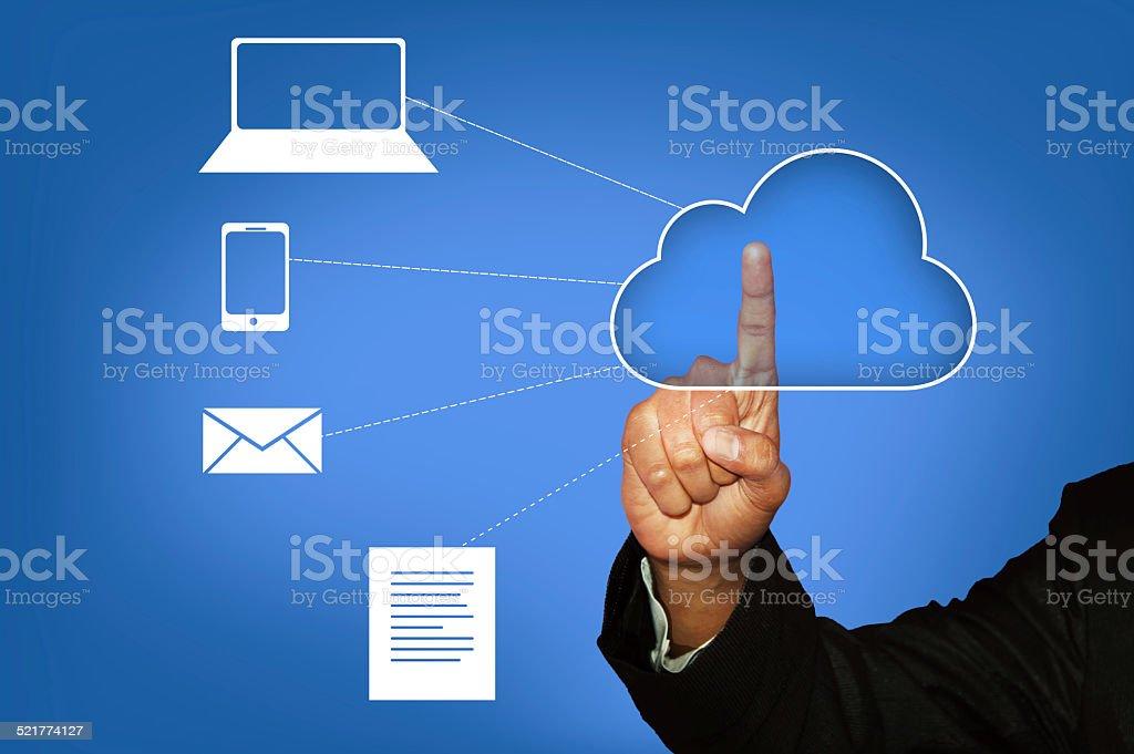 Touching Cloud Computing - Stock Image stock photo