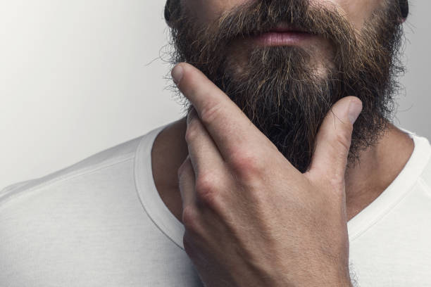 Touching his great beard stock photo