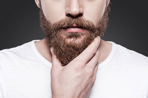 touching his perfect beard. - beard stock pictures, royalty-free photos & images
