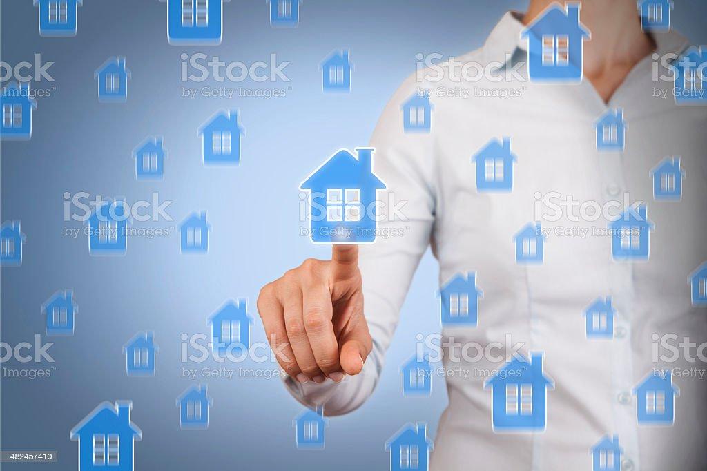 Touching House Insurance stock photo