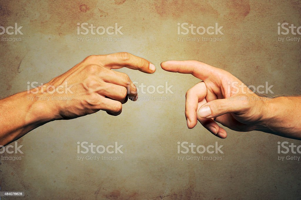 Touching stock photo