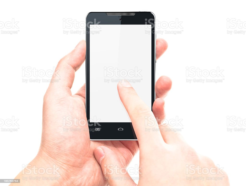 touching screen on smart phone stock photo