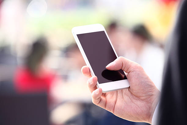 Touching Smart Phone stock photo