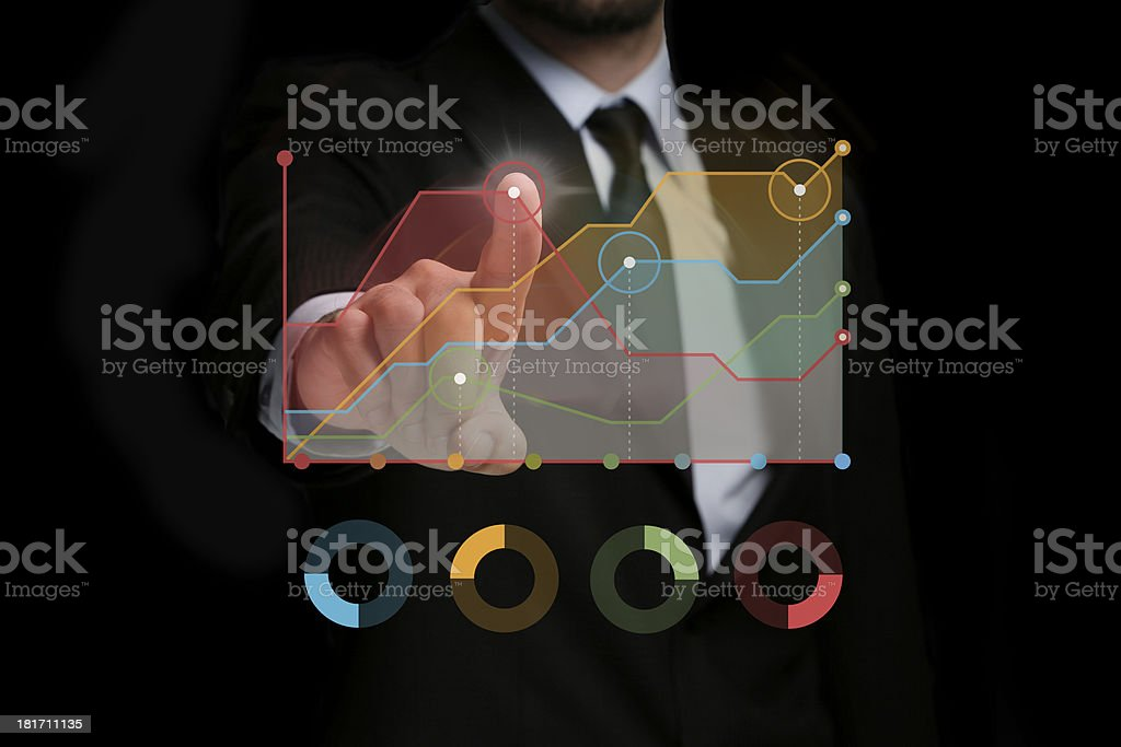 Touching Transparent Digital Touch Screen stock photo