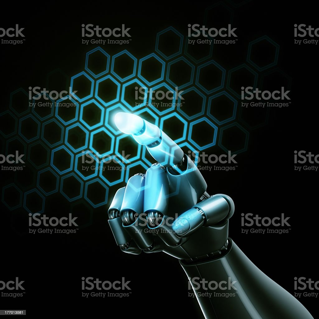 Royalty Free Robotic Arm Robot Touch Screen Black Background