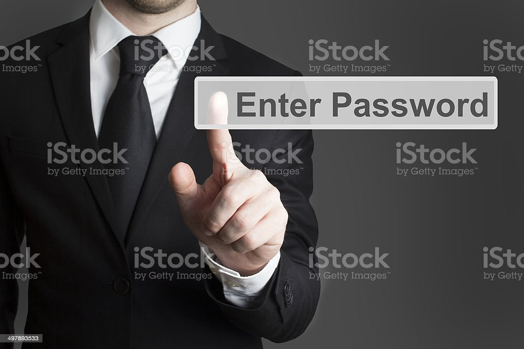 touchscreen enter password businessman stock photo
