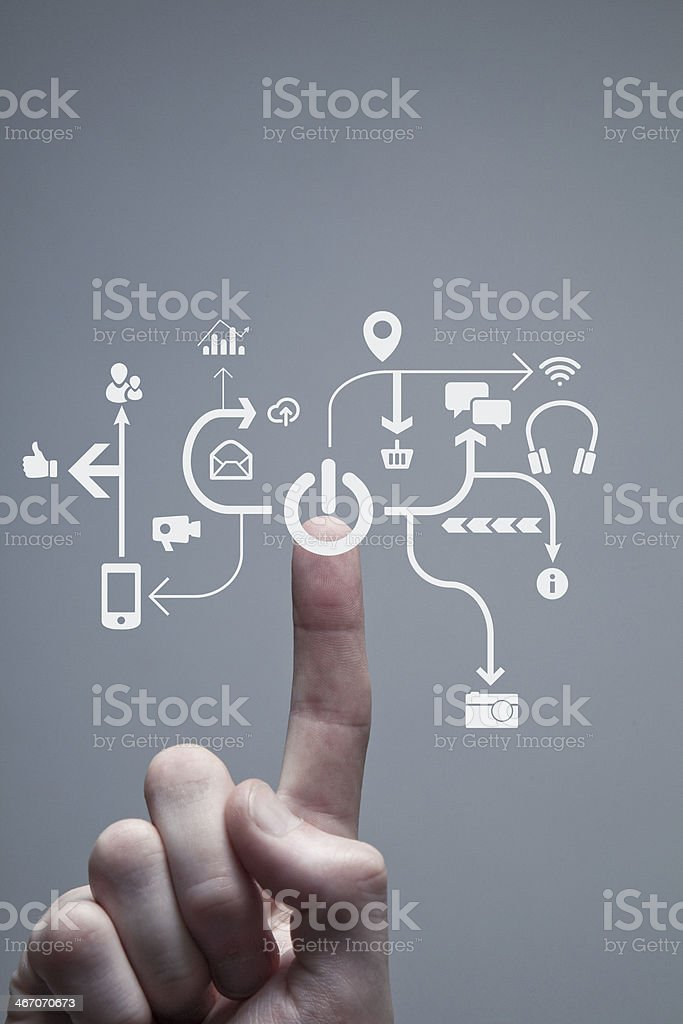 Touchscreen power button royalty-free stock photo