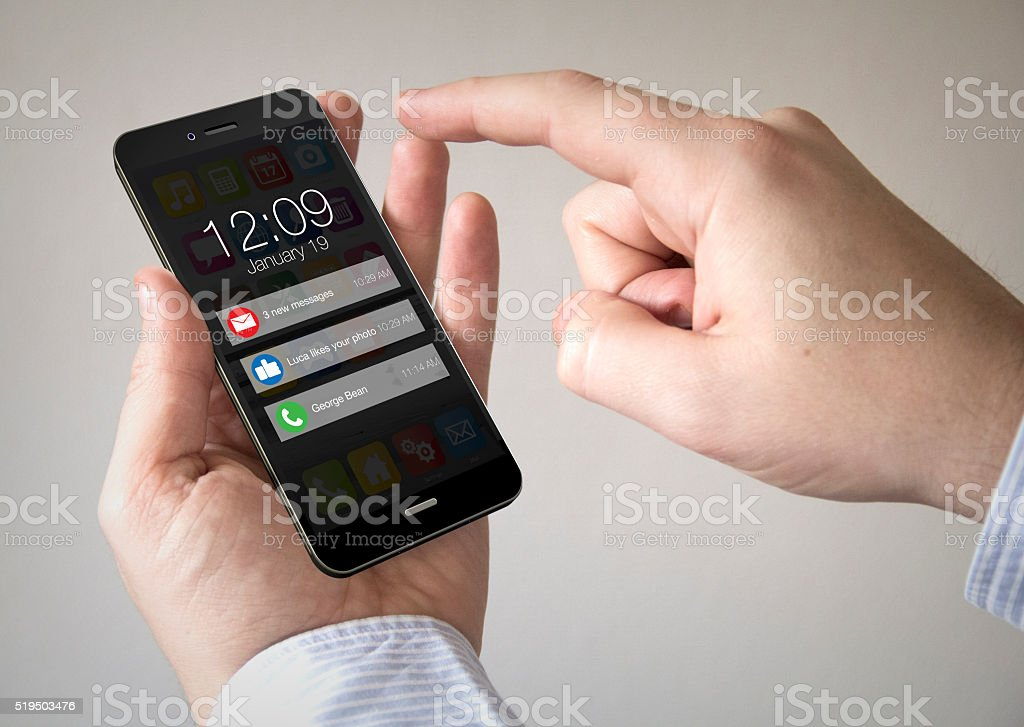 touchscreen smartphone with notifications on the screen stock photo